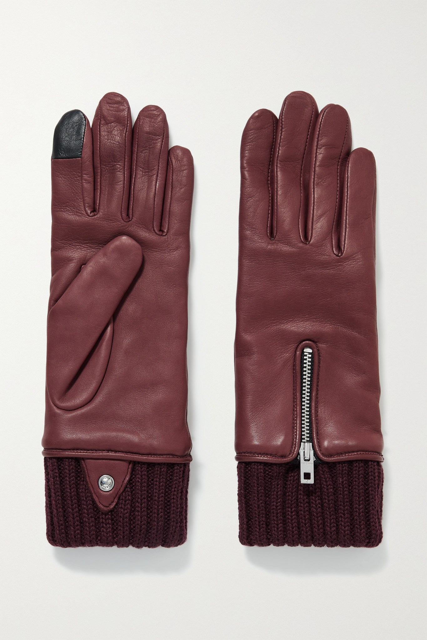RAG & BONE - Alpaca-lined Leather Gloves - Burgundy - L