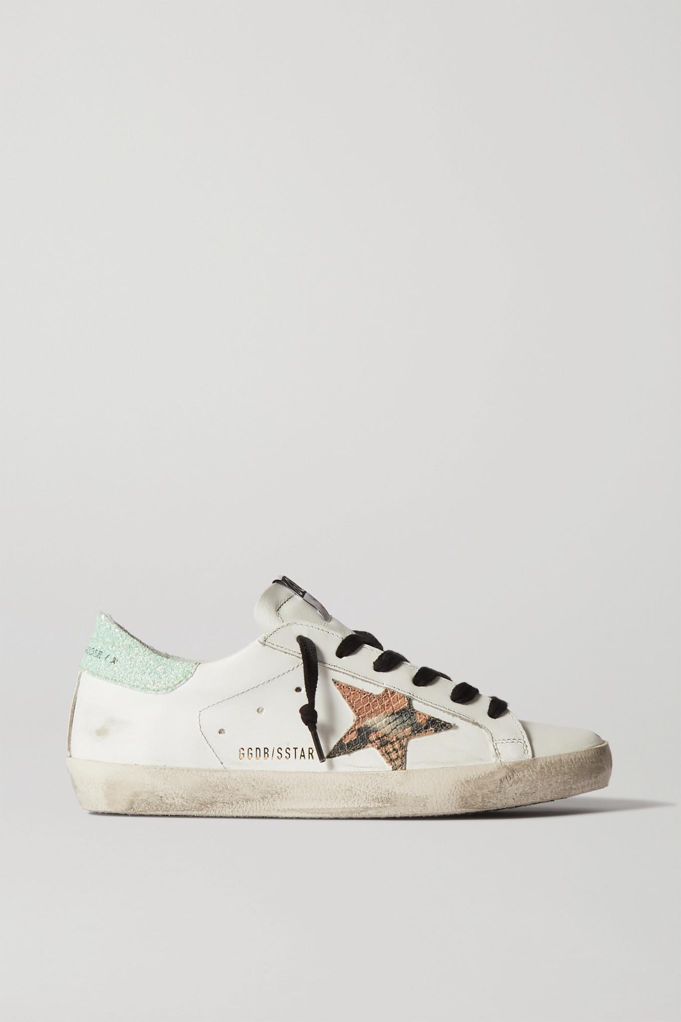 GOLDEN GOOSE - Superstar 仿旧亮片金葱皮革运动鞋 - 白色 - IT42