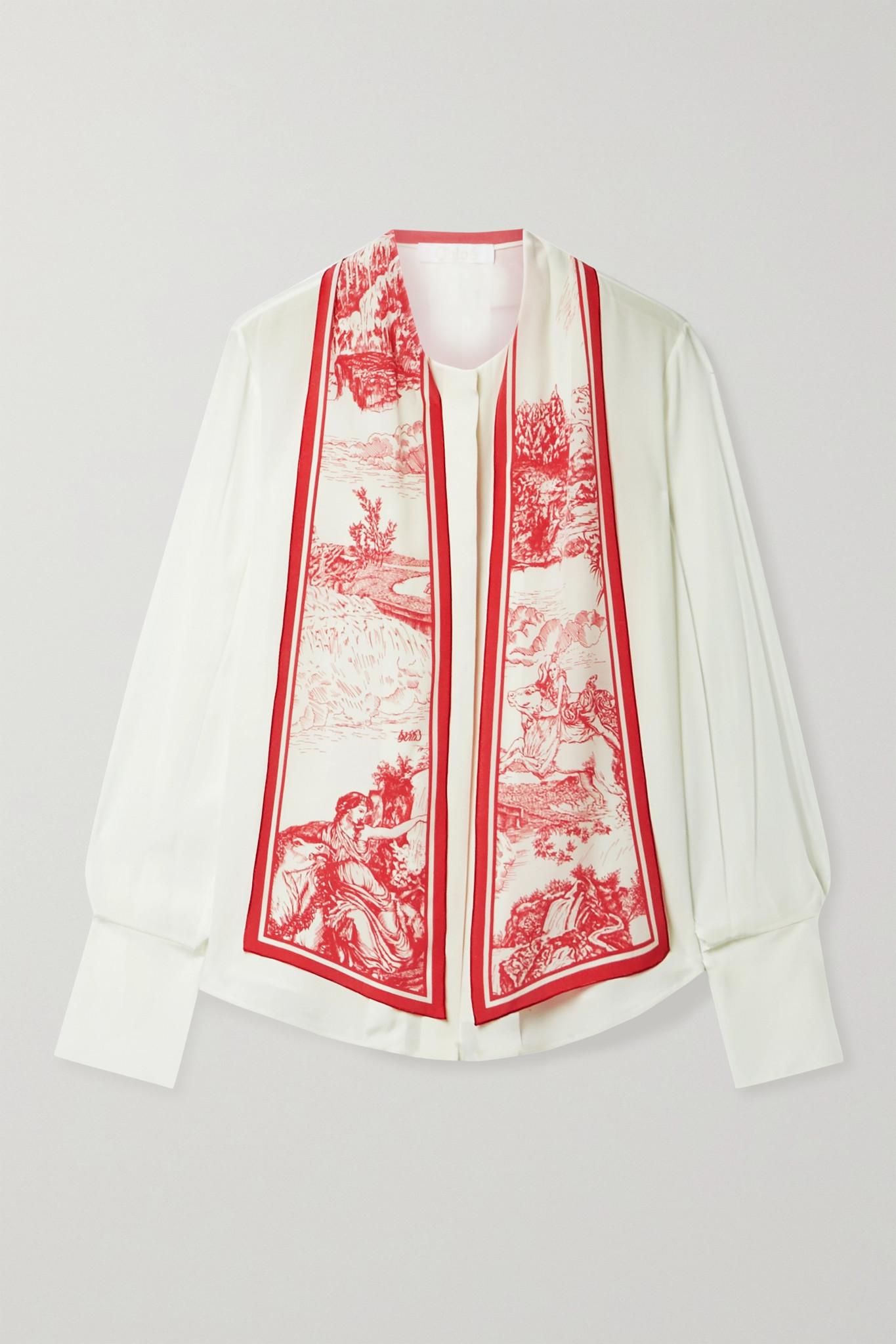 CHLOÉ - Printed Tie-neck Silk Crepe De Chine Blouse - Ivory - FR42
