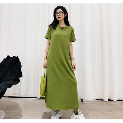 上衣 韓 長裙 長版衣 T裙M-XL慵懶居家服舒適好穿寬鬆長款裙牛油果綠短袖T恤連衣裙NC417.810胖胖美依