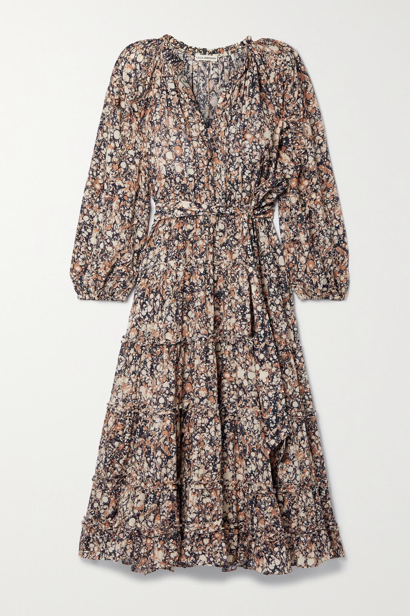 ULLA JOHNSON - Anzu 层接式印花棉质混纺巴里纱中长连衣裙 - 棕色 - US8