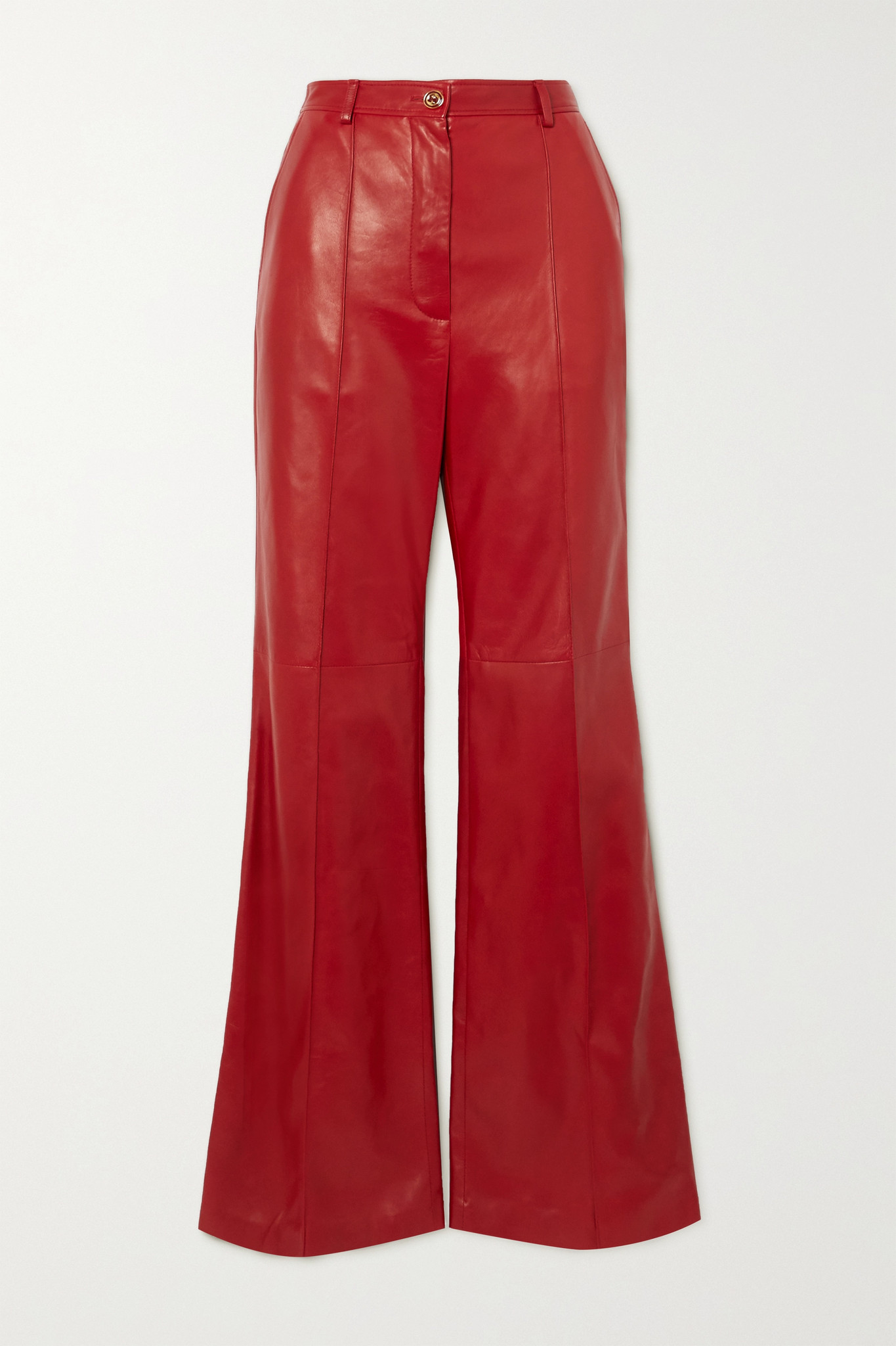 GUCCI - Leather Straight-leg Pants - Red - IT40