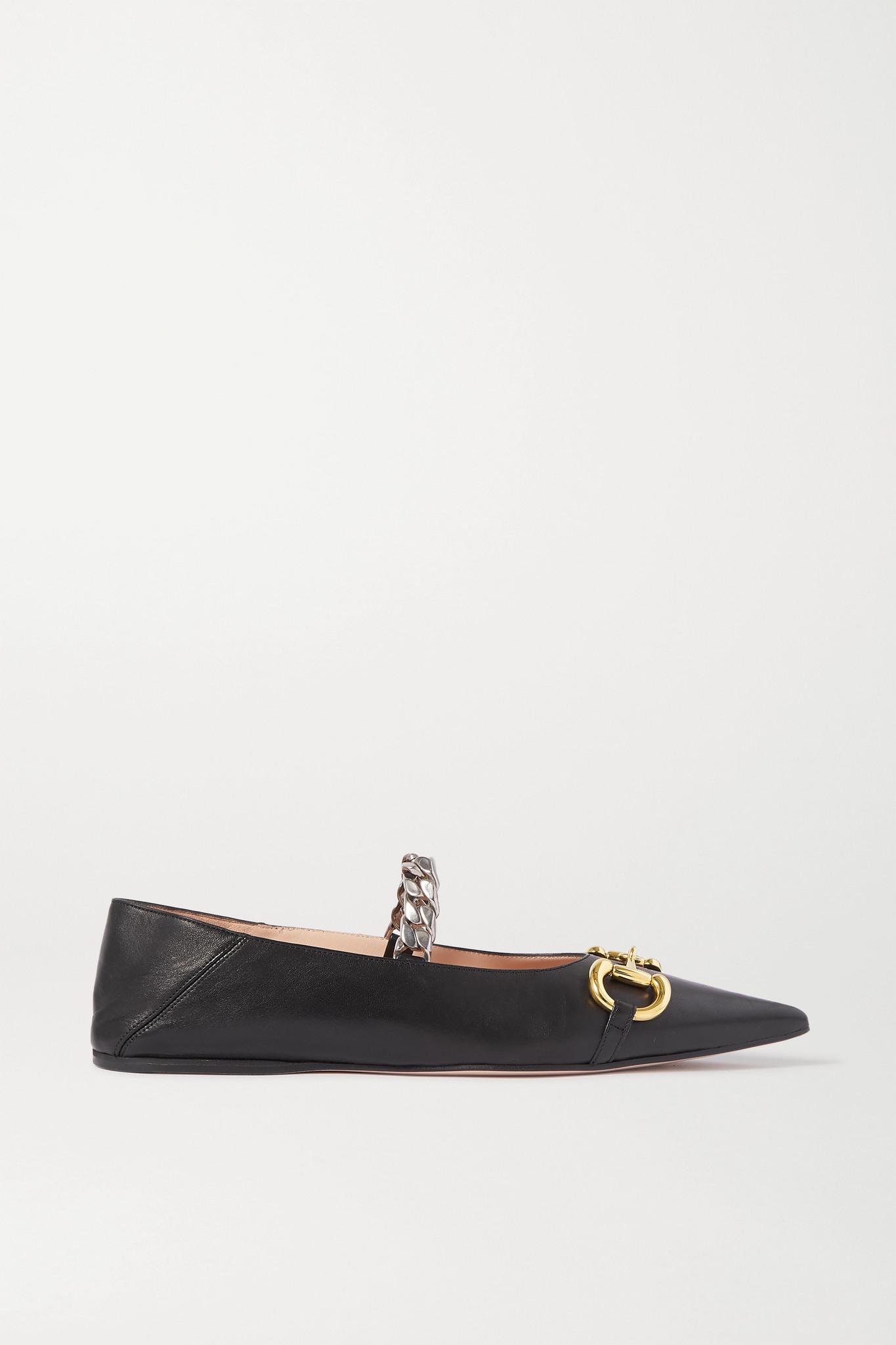 GUCCI - Deva 带缀饰皮革折叠式后跟尖头平底鞋 - 黑色 - IT36