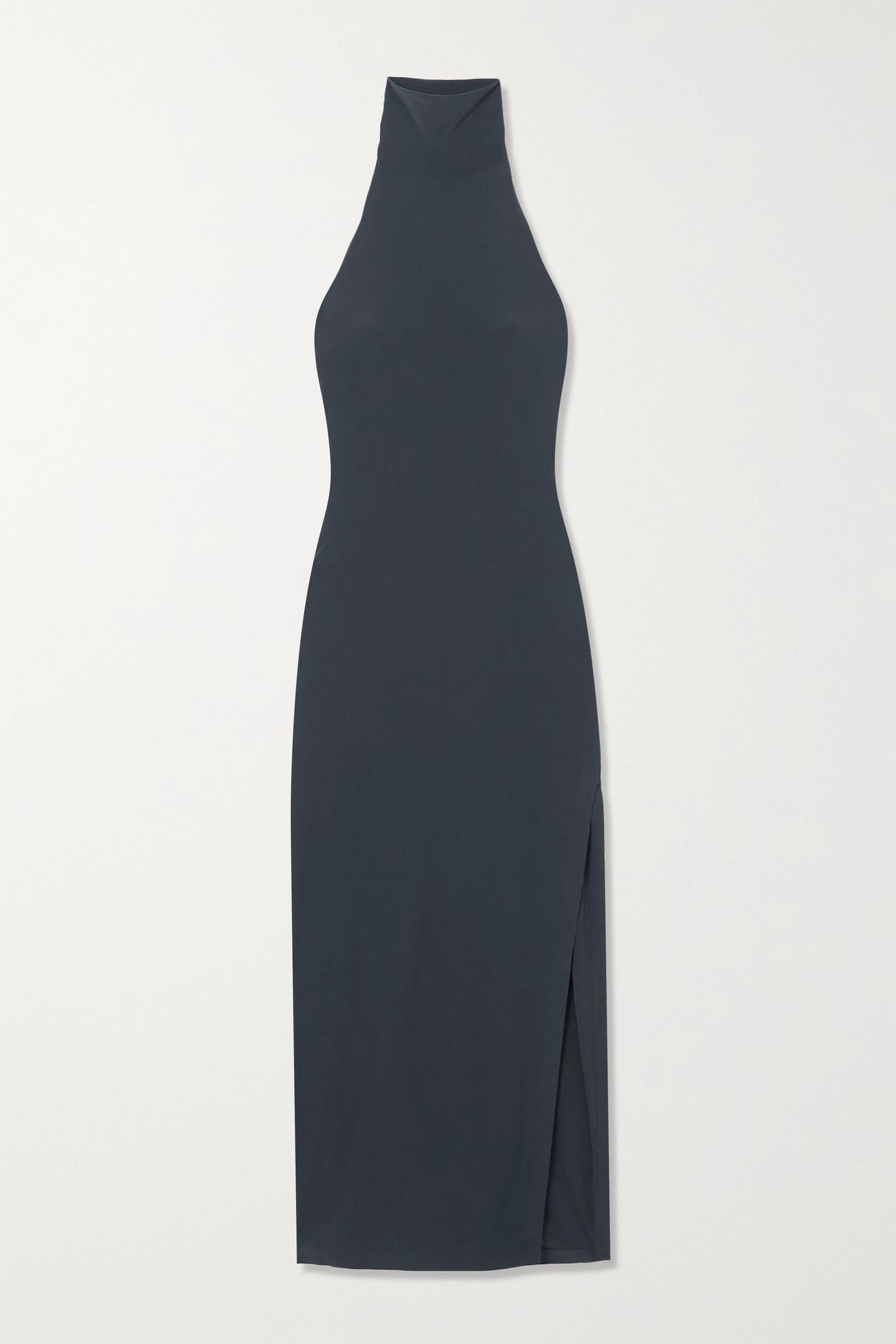 NORMA KAMALI - 弹力针织挂脖超长连衣裙 - 蓝色 - medium