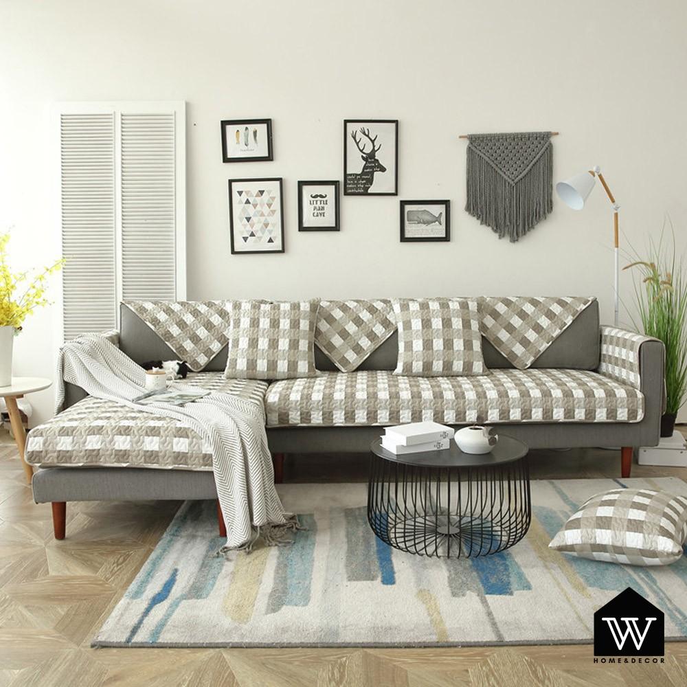 【好物良品】沙發墊套蓋巾組四季通用防滑防髒全棉印花布藝 - 咖啡白格|新美式系列