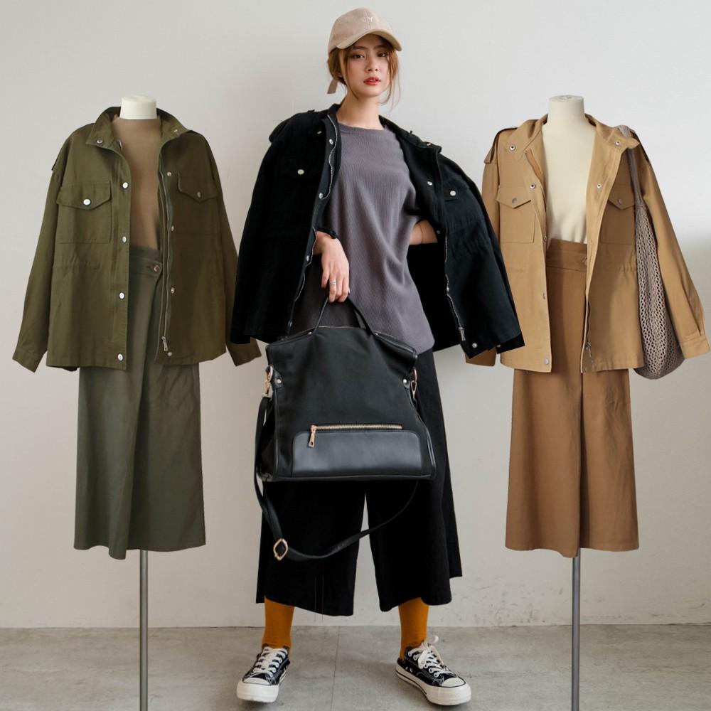 MIUSTAR 帥氣立領腰內抽繩斜紋布軍外套(共5色)外套 0223 預購【NJ0275】