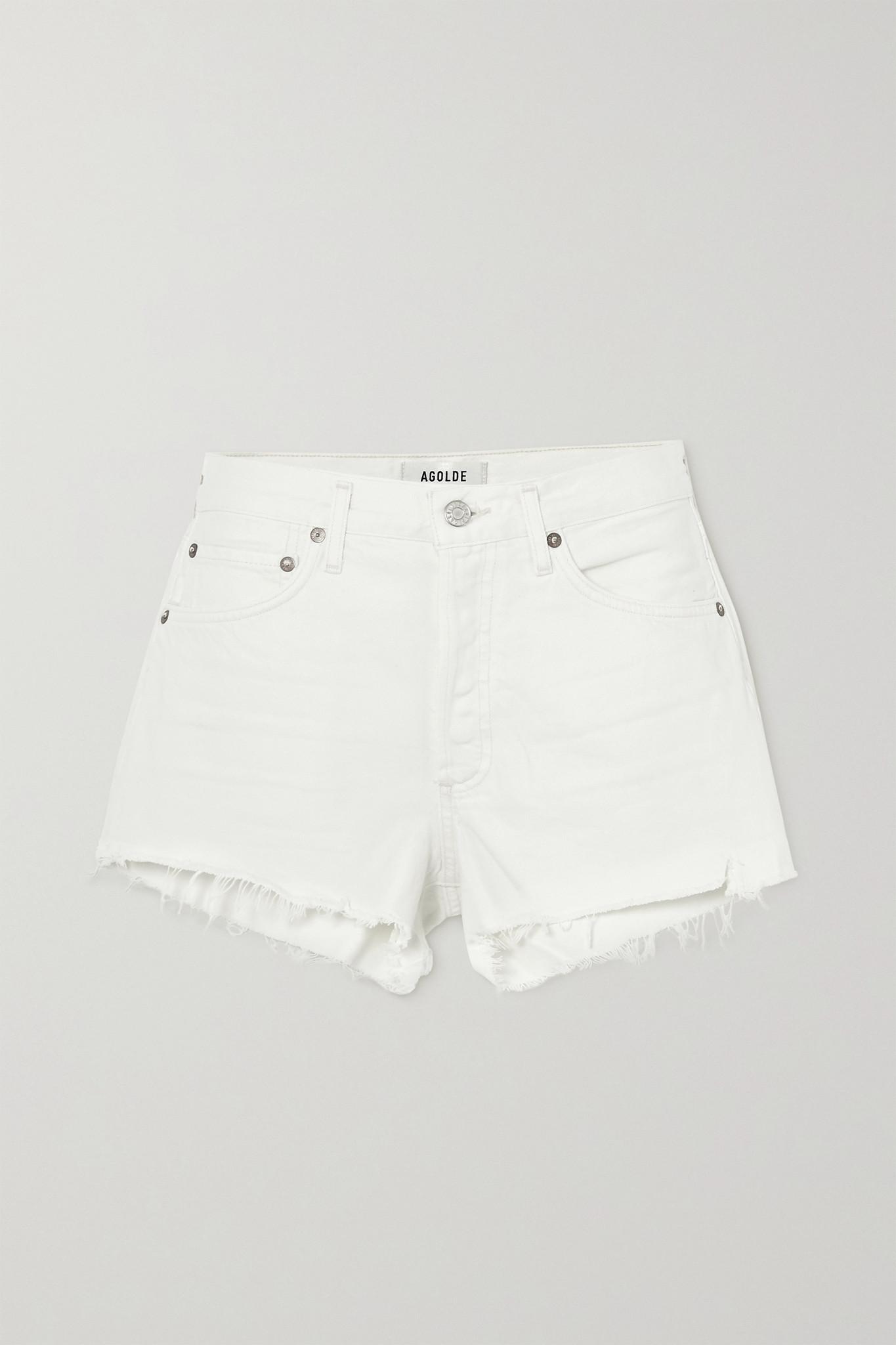 AGOLDE - Parker Distressed Denim Shorts - White - 30