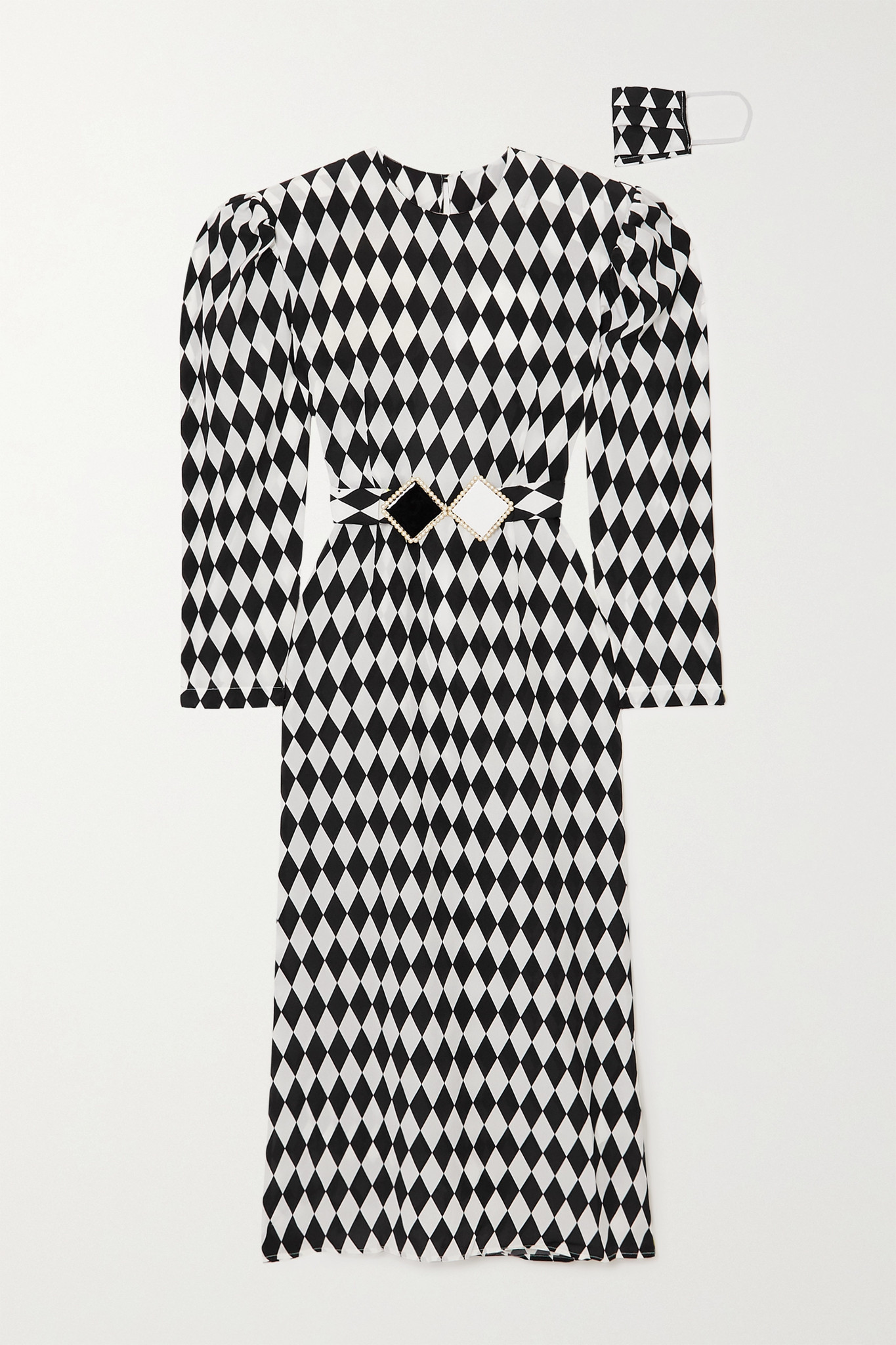 ROWEN ROSE - Belted Open-back Printed Silk Crepe De Chine Midi Dress - Black - FR36