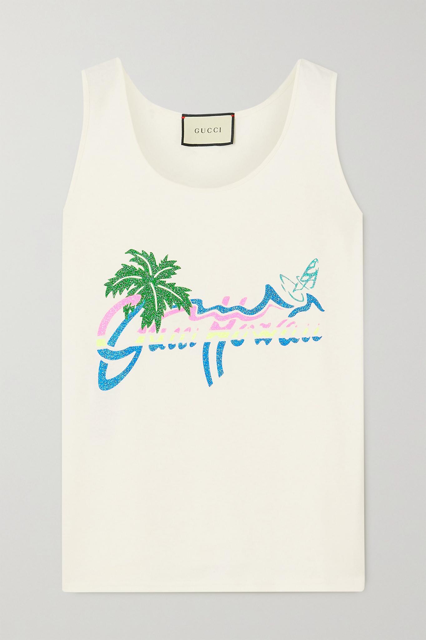 GUCCI - + Net Sustain Glittered Printed Organic Cotton-jersey Tank - White - small