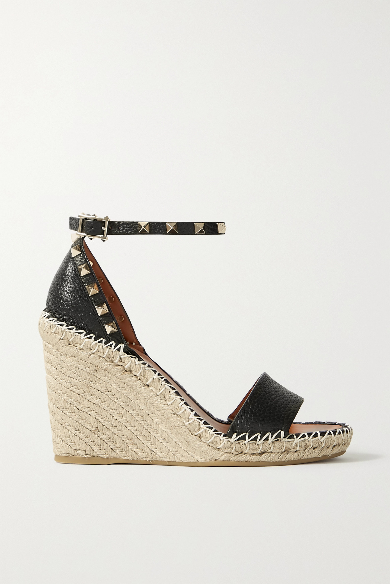 VALENTINO - Valentino Garavani Rockstud 105 Textured-leather Espadrille Wedge Sandals - Black - IT41