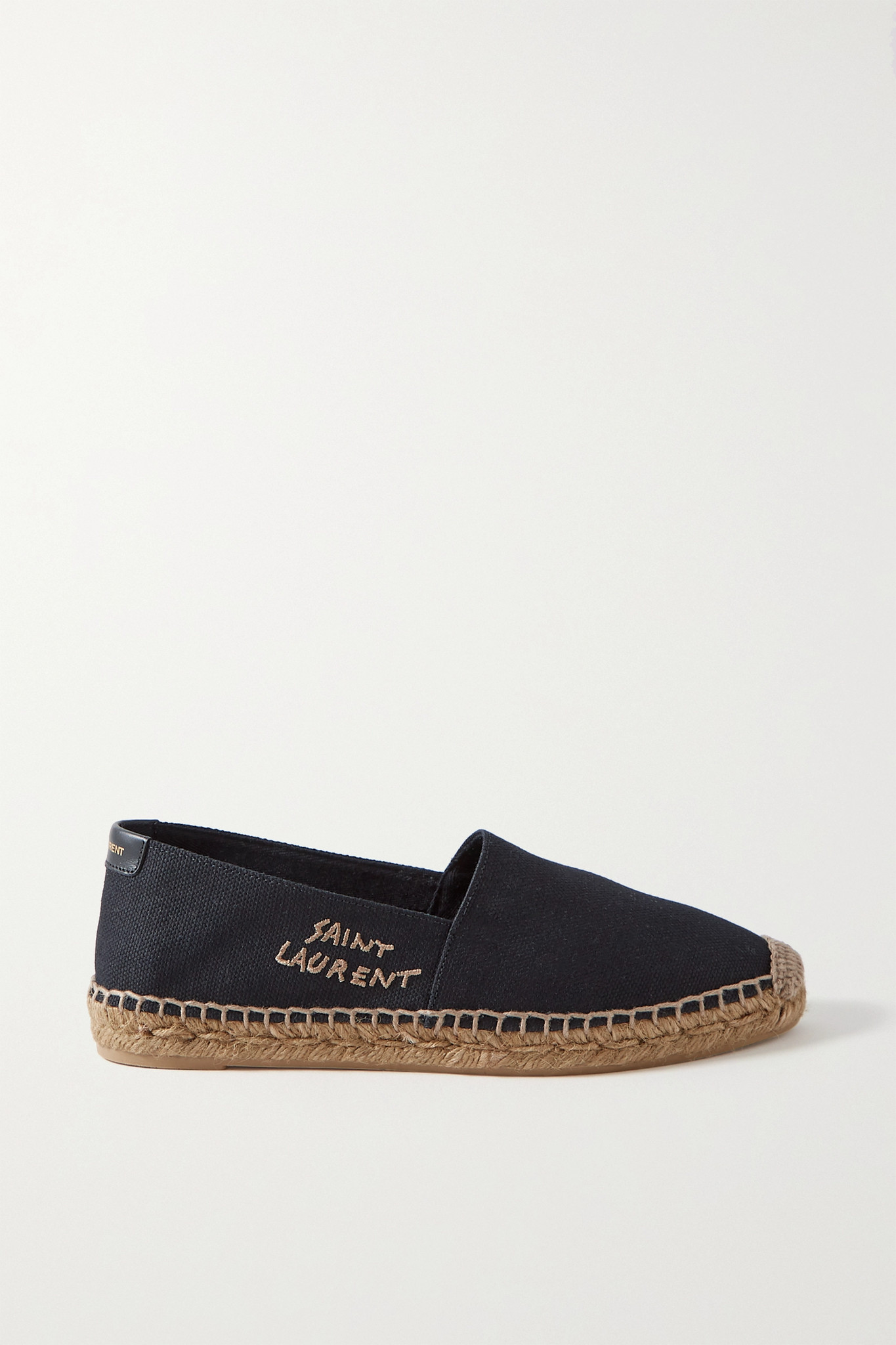 SAINT LAURENT - Logo-embroidered Canvas Espadrilles - Black - IT38