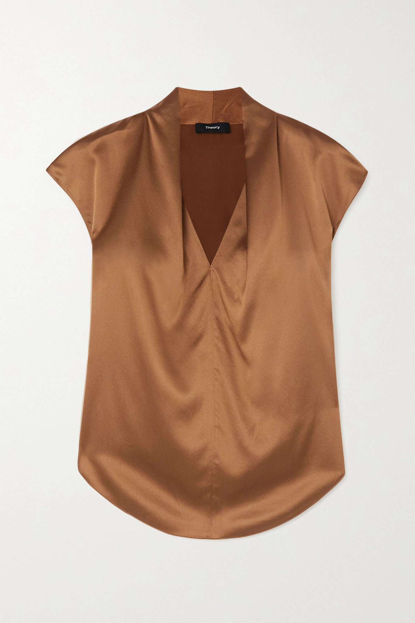 THEORY - Silk-blend Satin Top - Brown - small