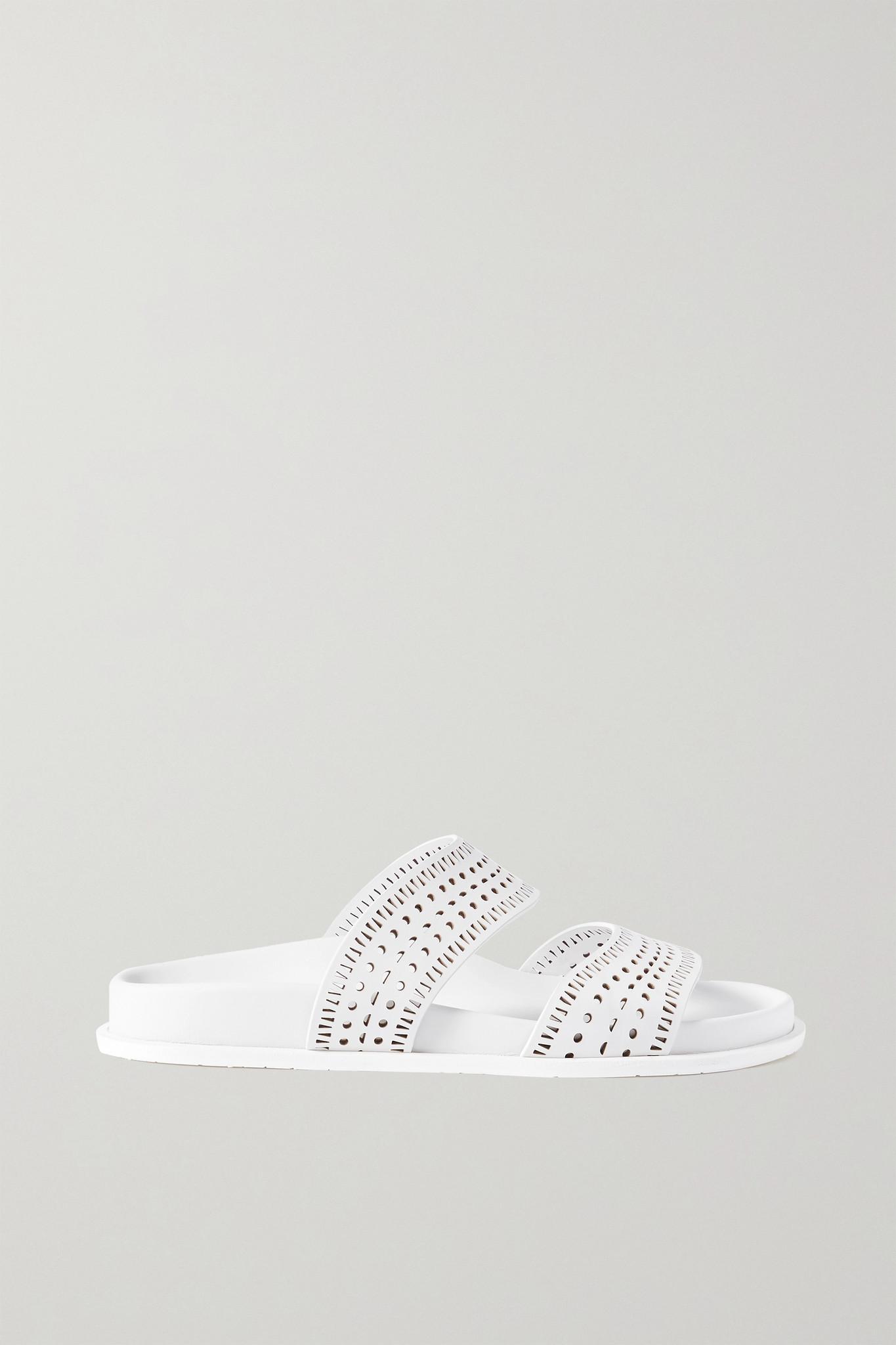 ALAÏA - Laser-cut Leather Slides - White - IT37