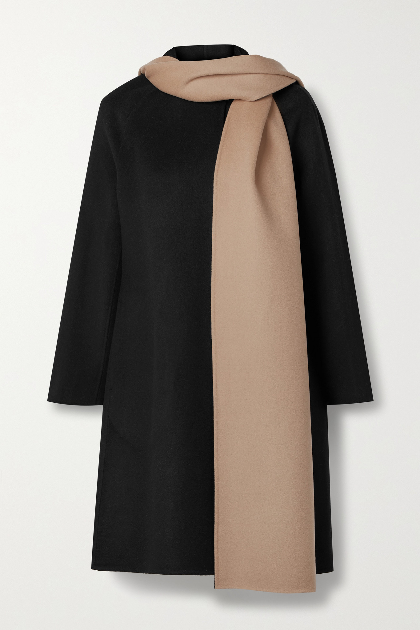 THEORY - Convertible Draped Two-tone Wool And Cashmere-blend Coat - Black - small