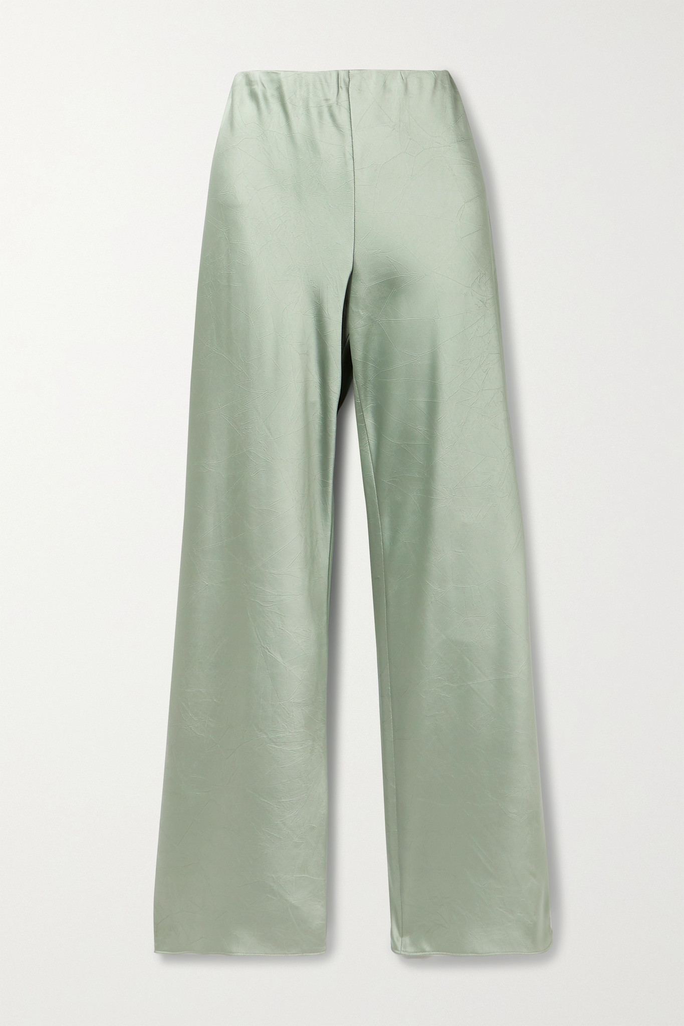 VINCE - Crinkled-satin Straight-leg Pants - Green - x small