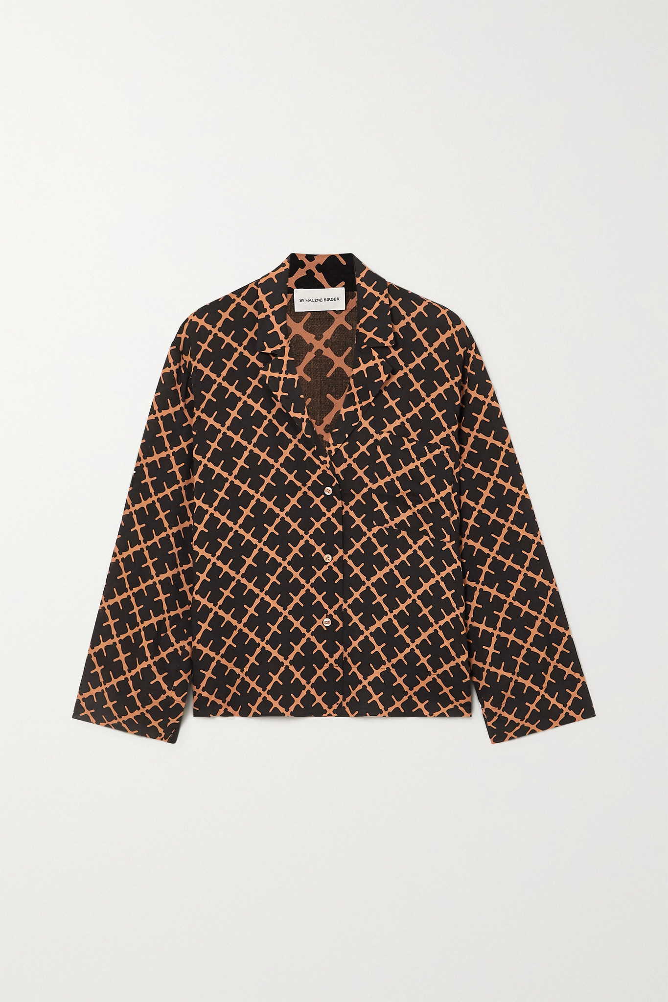 BY MALENE BIRGER - Osa 印花斜纹布衬衫 - 金属色 - DK44