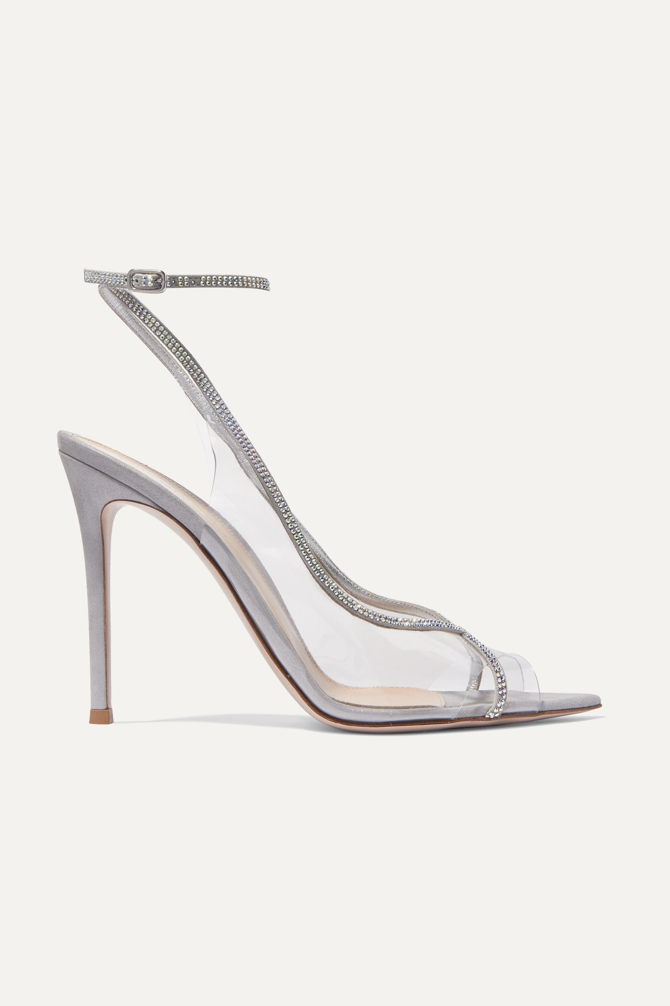 GIANVITO ROSSI - Plexi 105 Crystal-embellished Lamé And Pvc Sandals - Silver - IT39.5