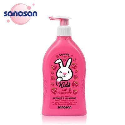 德國sanosan珊諾-兒童2合1洗髮沐浴露400ml-覆盆子香