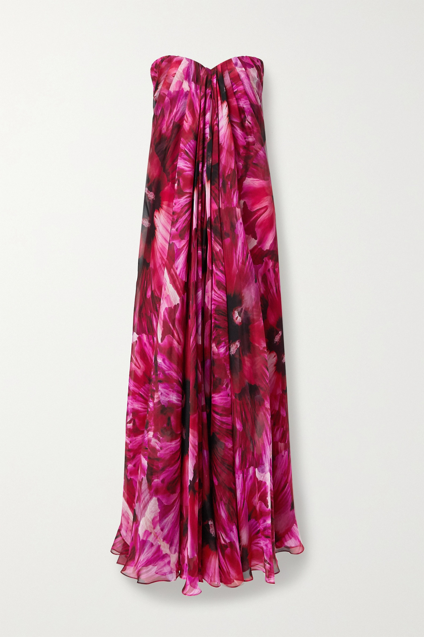 ALEXANDER MCQUEEN - Strapless Pleated Floral-print Silk-crepe De Chine Gown - Pink - IT38