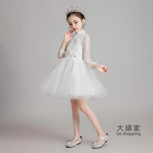 花童禮服 公主裙 兒童公主裙女童小花童鋼琴演出服女孩模特走秀表演服婚禮伴娘禮服