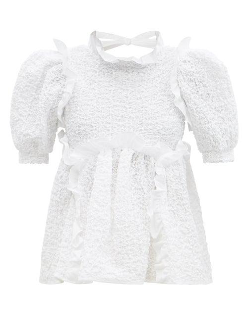Cecilie Bahnsen - Capri Tie-back Smocked Cotton-blend Top - Womens - White