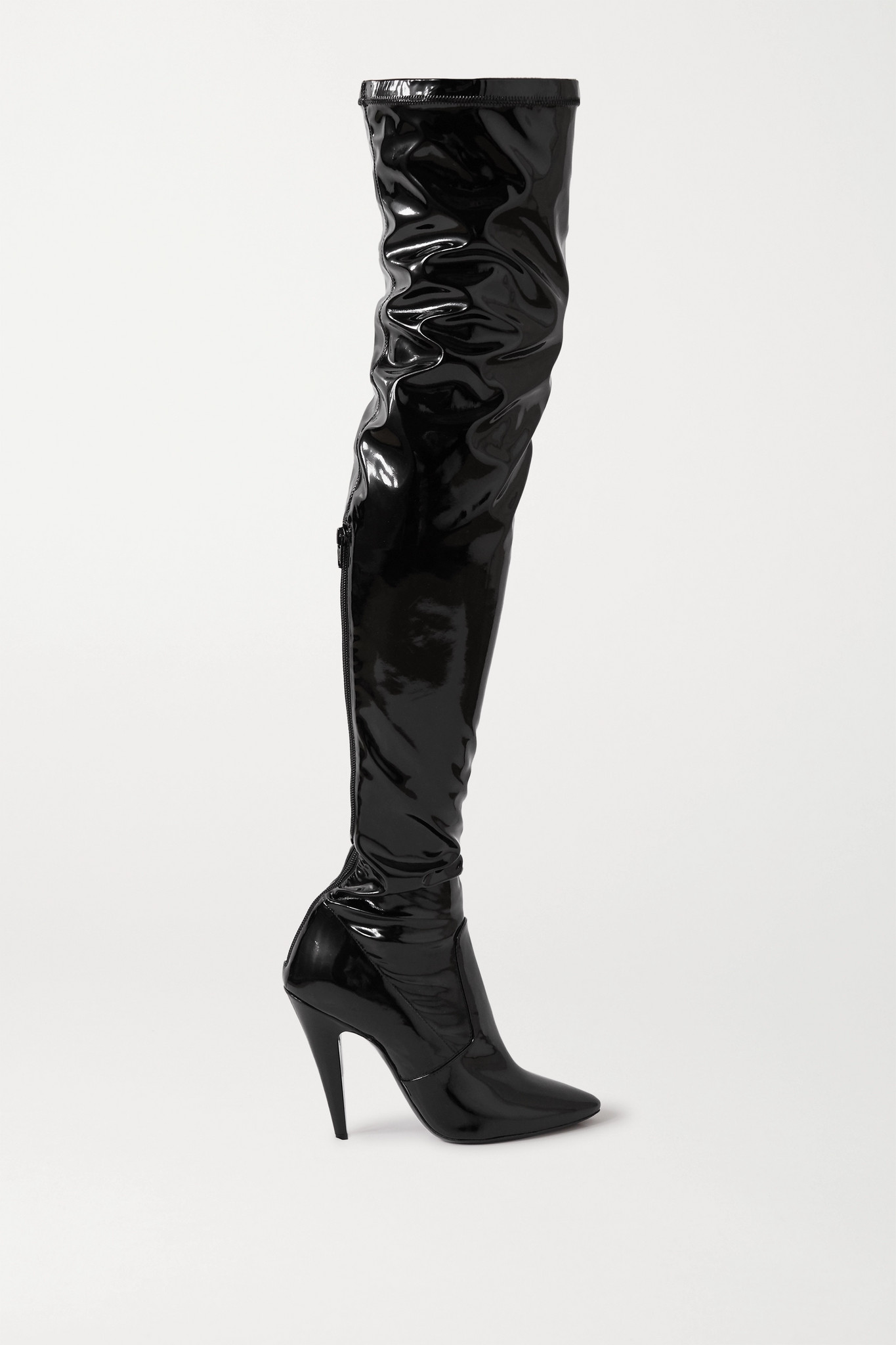 SAINT LAURENT - Faux Patent-leather Over-the-knee Boots - Black - IT40