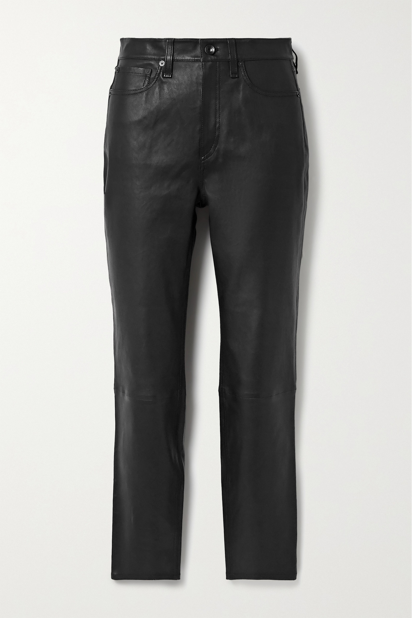 RAG & BONE - Nina Skinny Leather Pants - Black - 29
