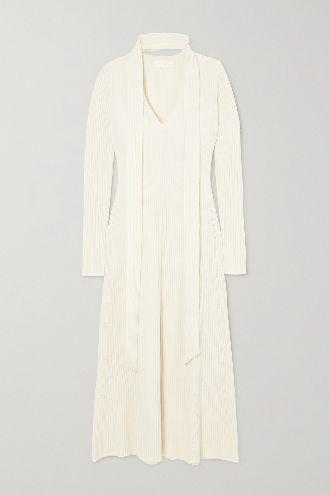 CHLOÉ - Tie-neck Ribbed Wool And Silk-blend Midi Dress - White - small