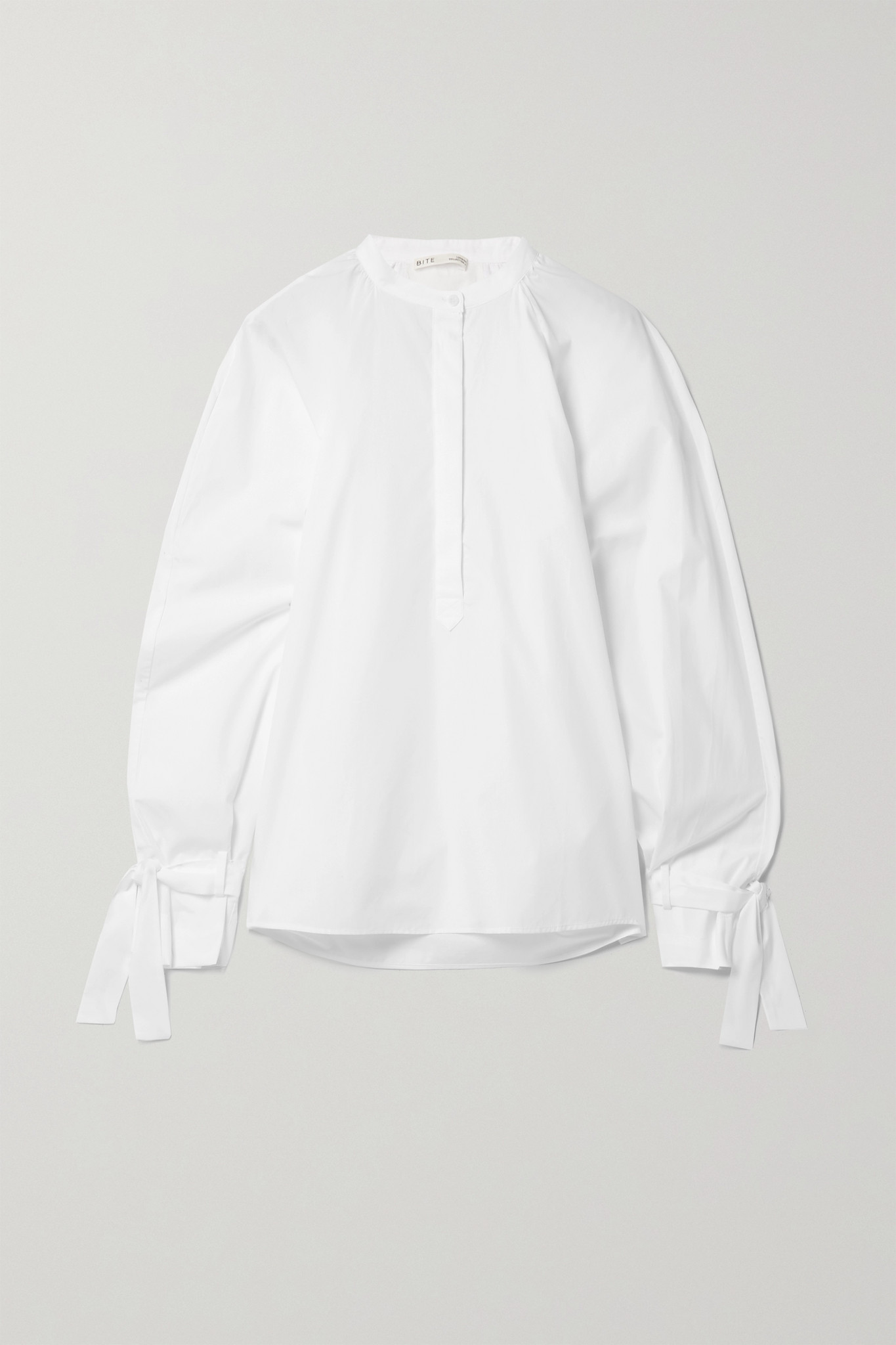 BITE STUDIOS - + Net Sustain Tie-detailed Organic Cotton-poplin Blouse - White - UK14