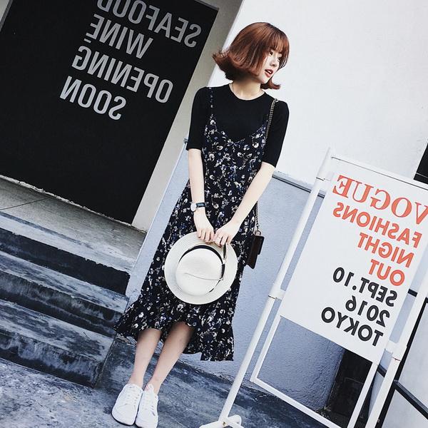 9th Street 不規則下擺印花連身裙(上衣+裙子)(薄款)(預購)