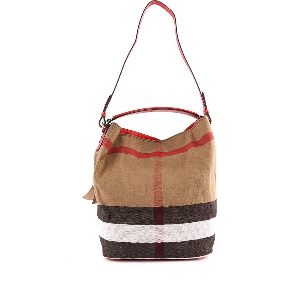 BURBERRY 棕色棉麻混紡手提/肩背二用包(紅色背帶) 3945728 6126T
