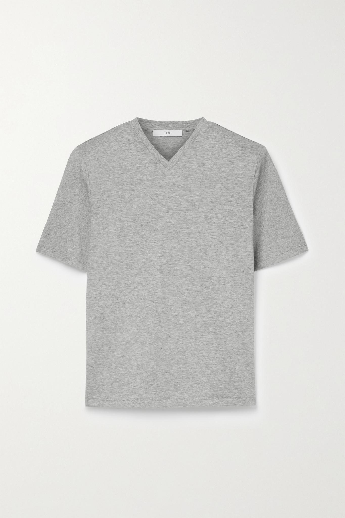 TIBI - Tess 纯棉平纹布 T 恤 - 灰色 - large