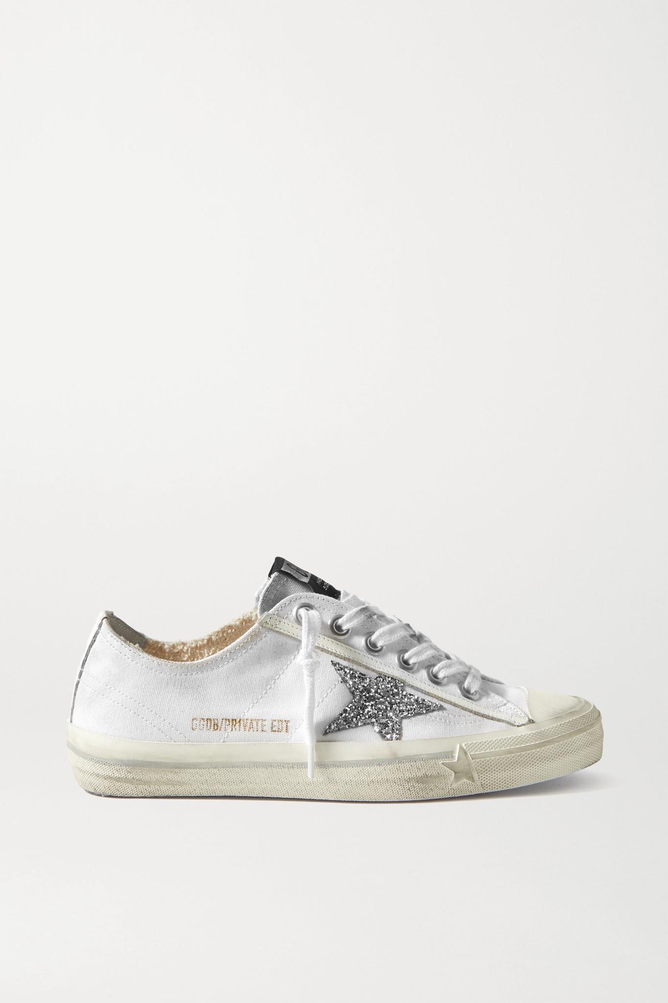 GOLDEN GOOSE - V-star 亮片仿旧帆布运动鞋 - 白色 - IT37