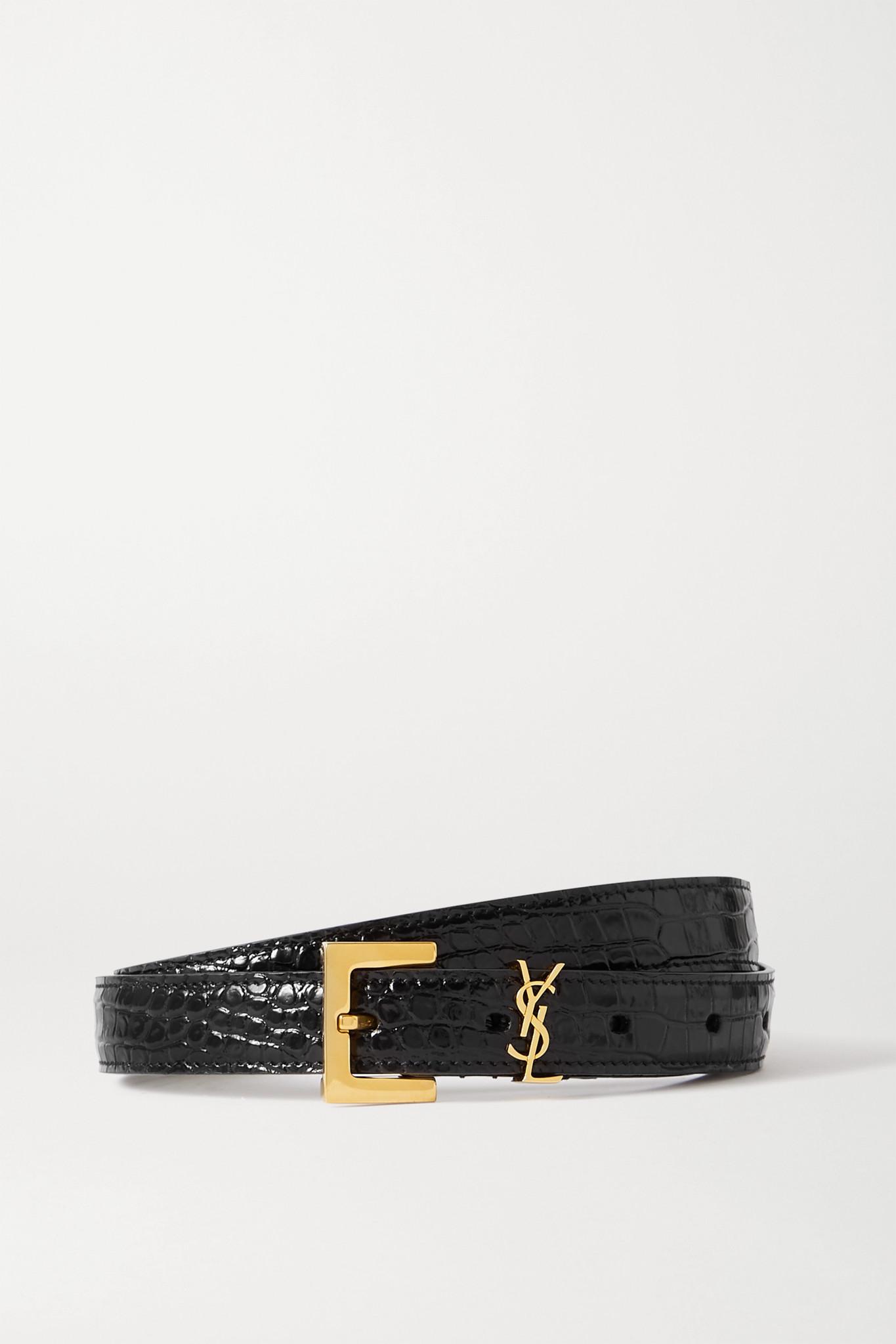 SAINT LAURENT - Embellished Croc-effect Leather Belt - Black - 90