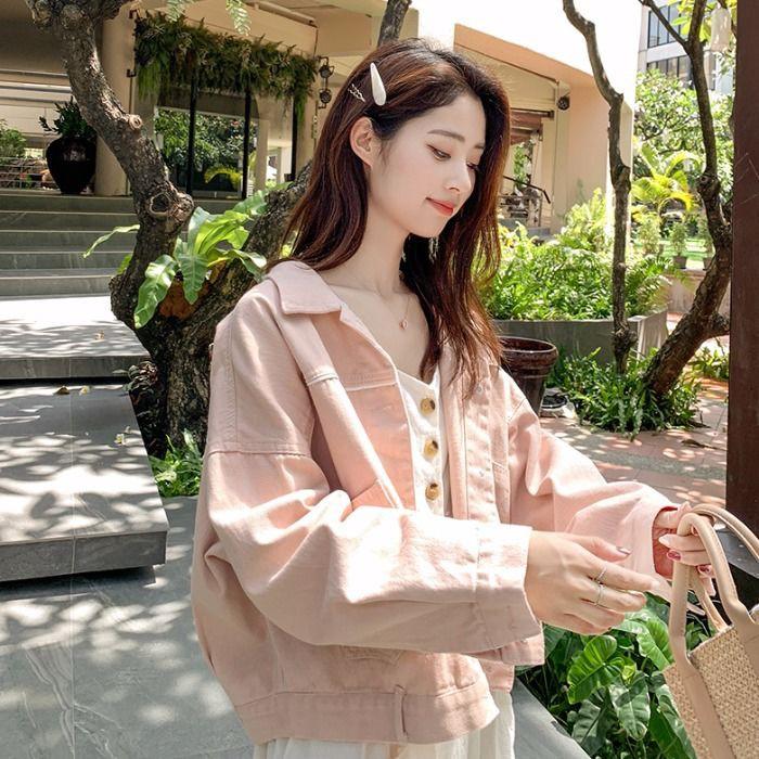 新款粉色牛仔外套女裝韓版學生大碼寬松長袖顯瘦洋氣上衣ayf