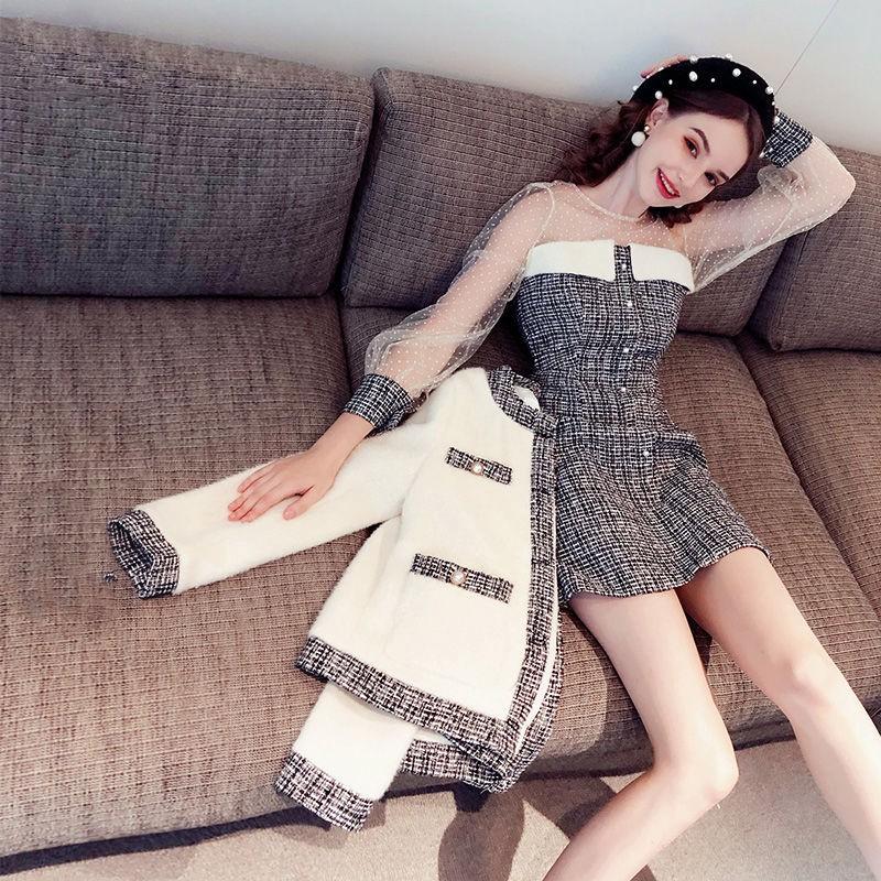 【現貨】時尚小香風套裝裙2020新款秋冬裝兩件套女名媛氣質洋氣外套