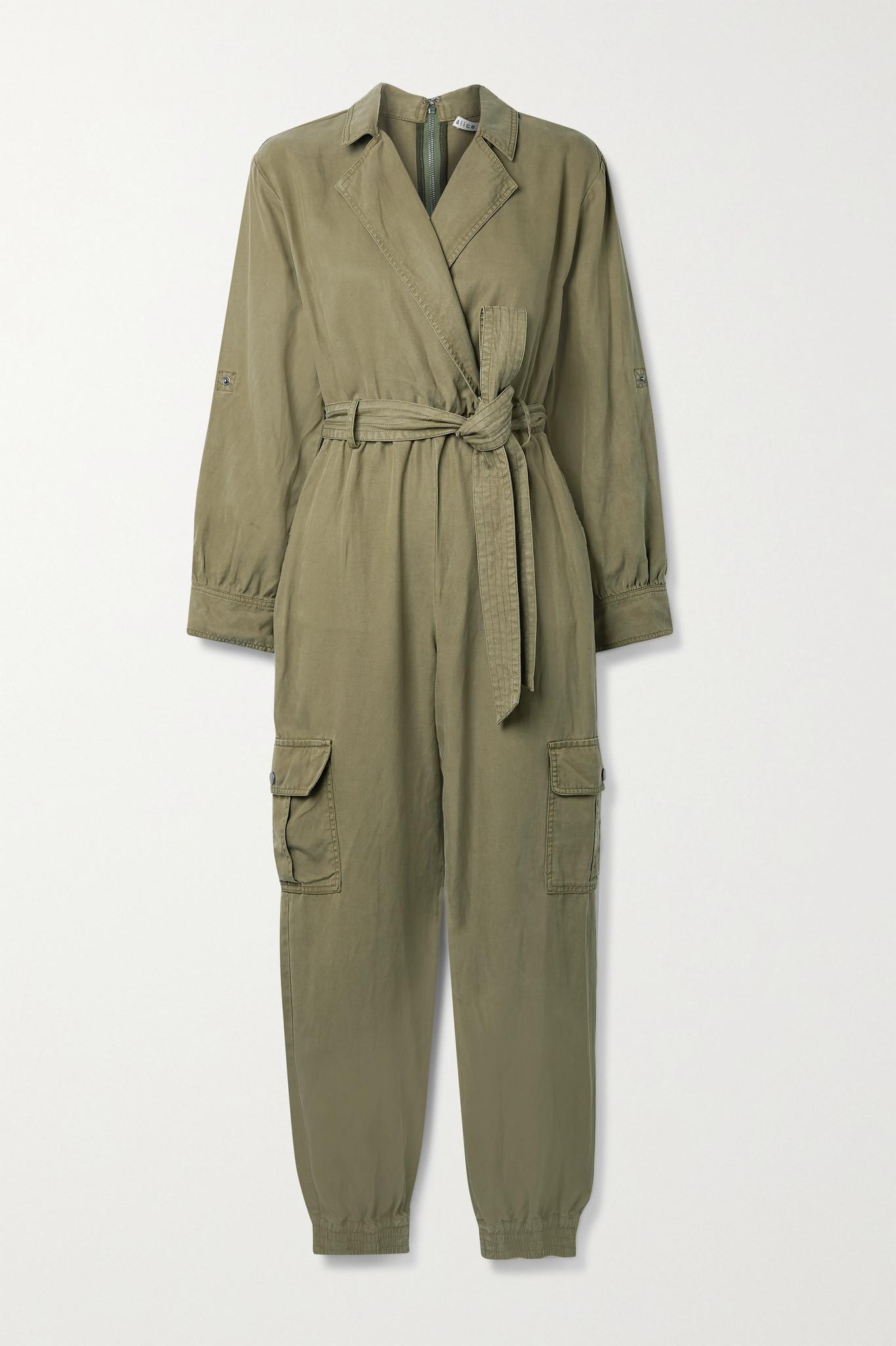 ALICE + OLIVIA - Bessie 天丝莱赛尔纤维棉麻混纺斜纹布连身裤 - 绿色 - US6