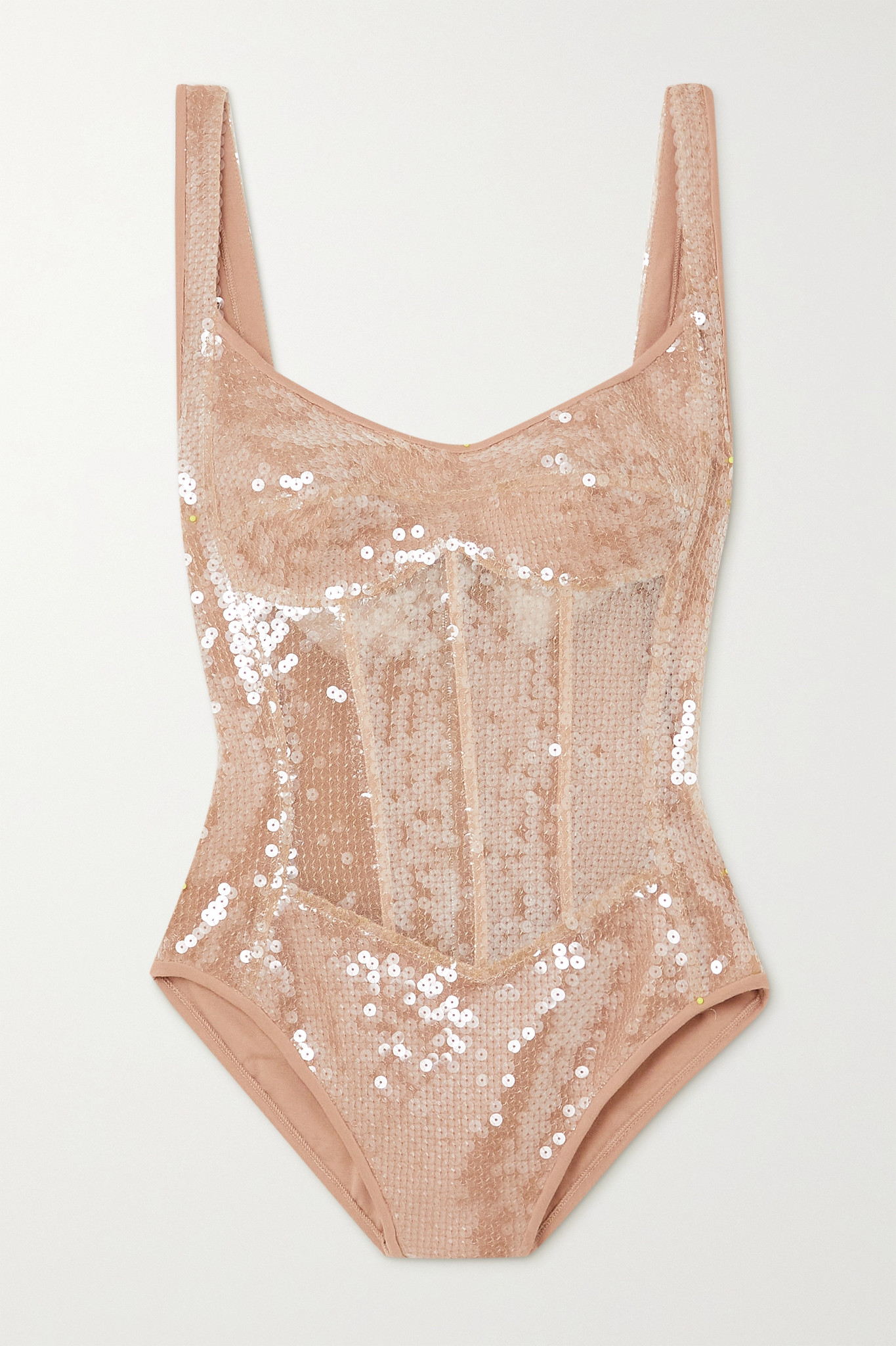DAVID KOMA - Sequined Tulle And Jersey Bodysuit - Neutrals - UK12