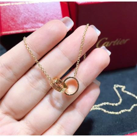 專櫃 正品 【Cartier】卡地亞 LOVE 18K金 經典款 圓環 雙環 無鑽 項鍊 鎖骨鏈