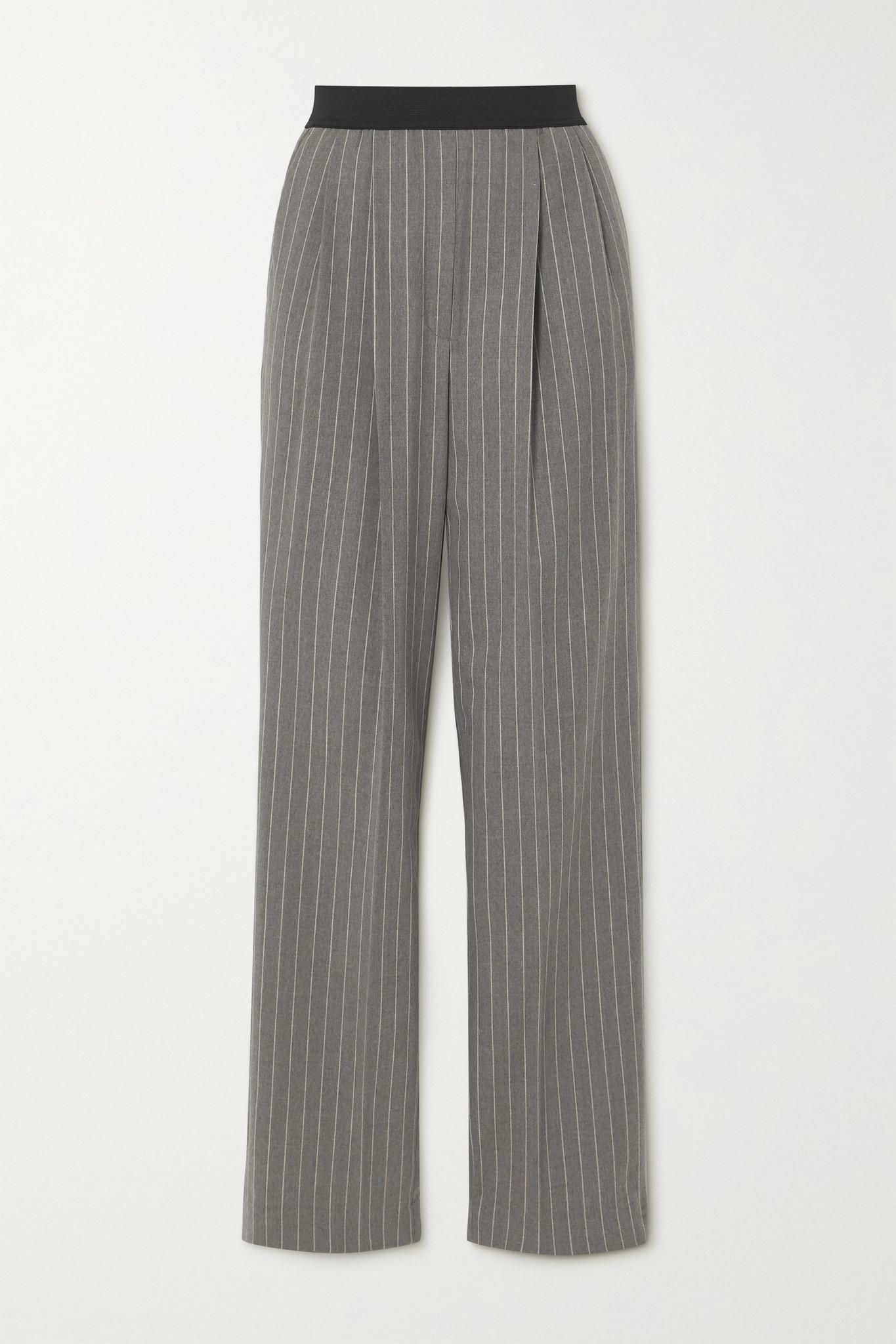 LOULOU STUDIO - Moretta 褶裥细条纹弹力羊毛直筒裤 - 灰色 - large