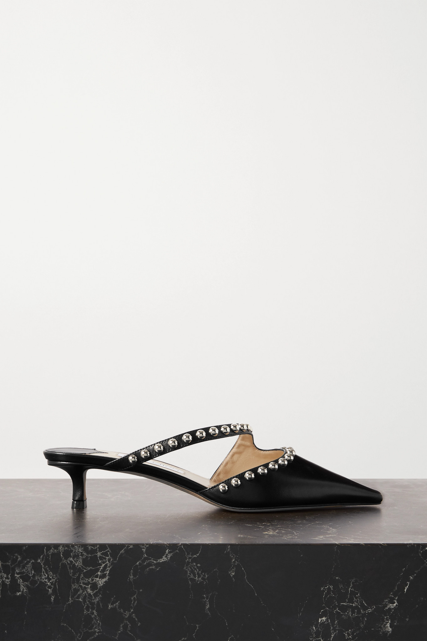 JIMMY CHOO - Ros 35 Studded Leather Mules - Black - IT40