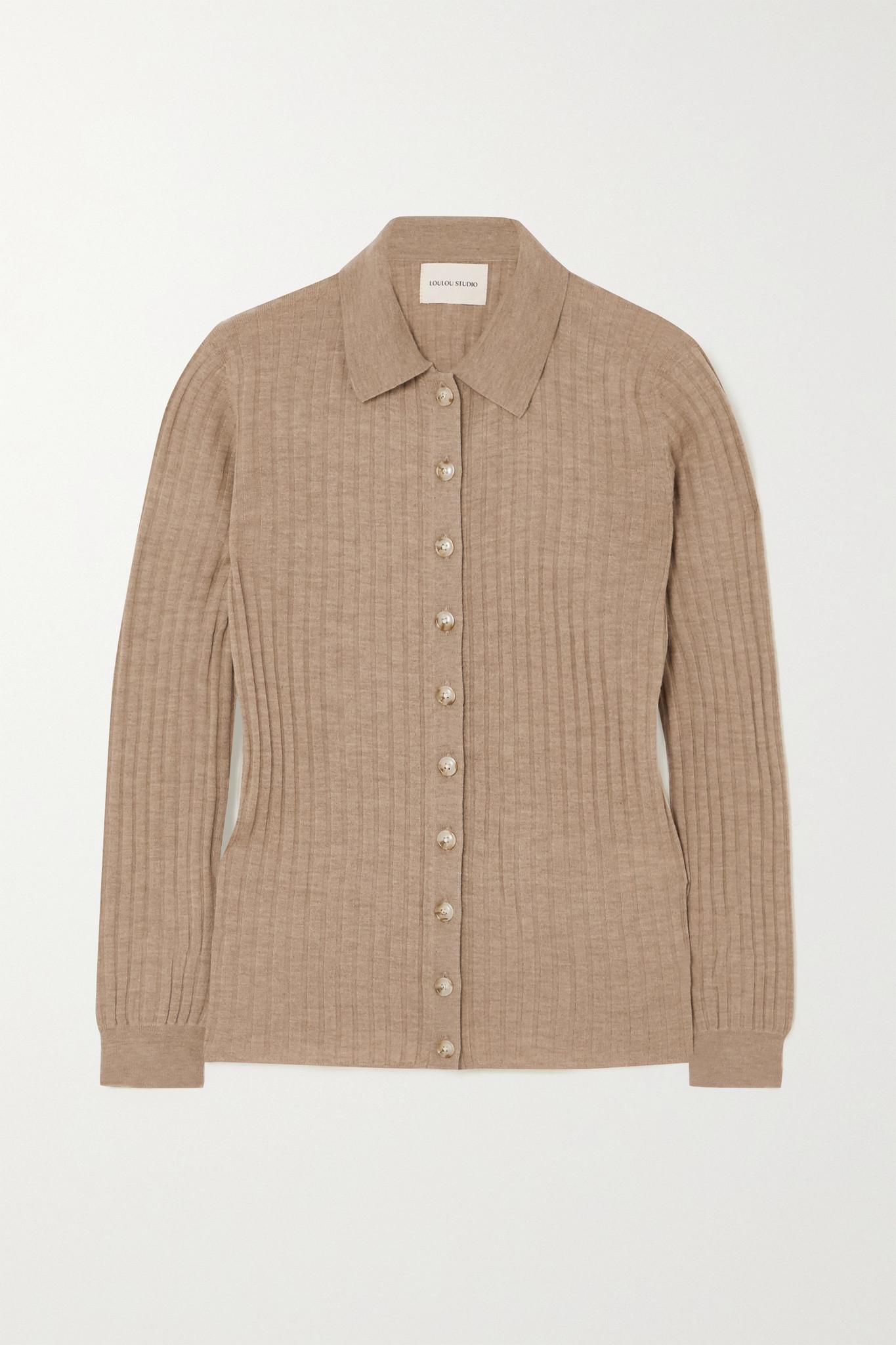 LOULOU STUDIO - Sulug 罗纹混色羊毛羊绒混纺毛衣 - 棕色 - x small