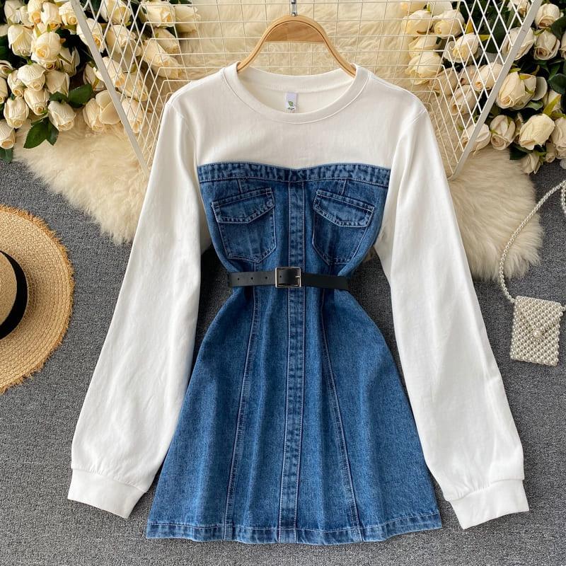 附皮帶.韓風簡約假兩件牛仔拼接長袖短版洋裝.白鳥麗子