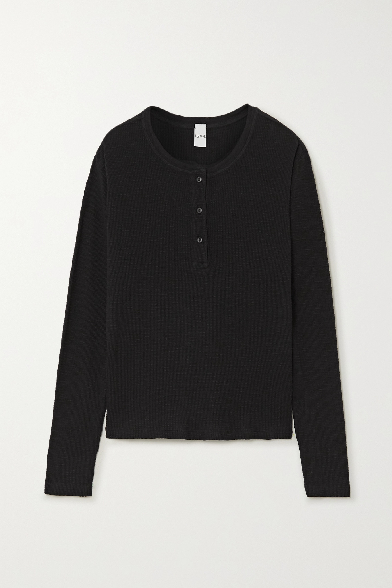RE/DONE - Waffle-knit Cotton-jersey Top - Black - x small