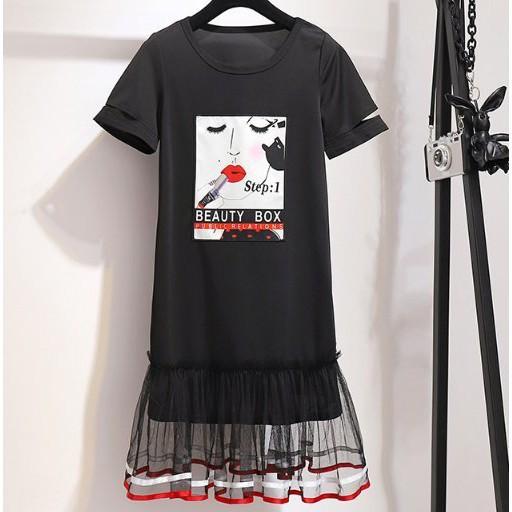 現貨 XL黑 韓版洋裝中大尺碼連身裙大碼女裝胖mm新款時尚小黑裙氣質減齡休閒短袖顯瘦連衣裙4F109.6612