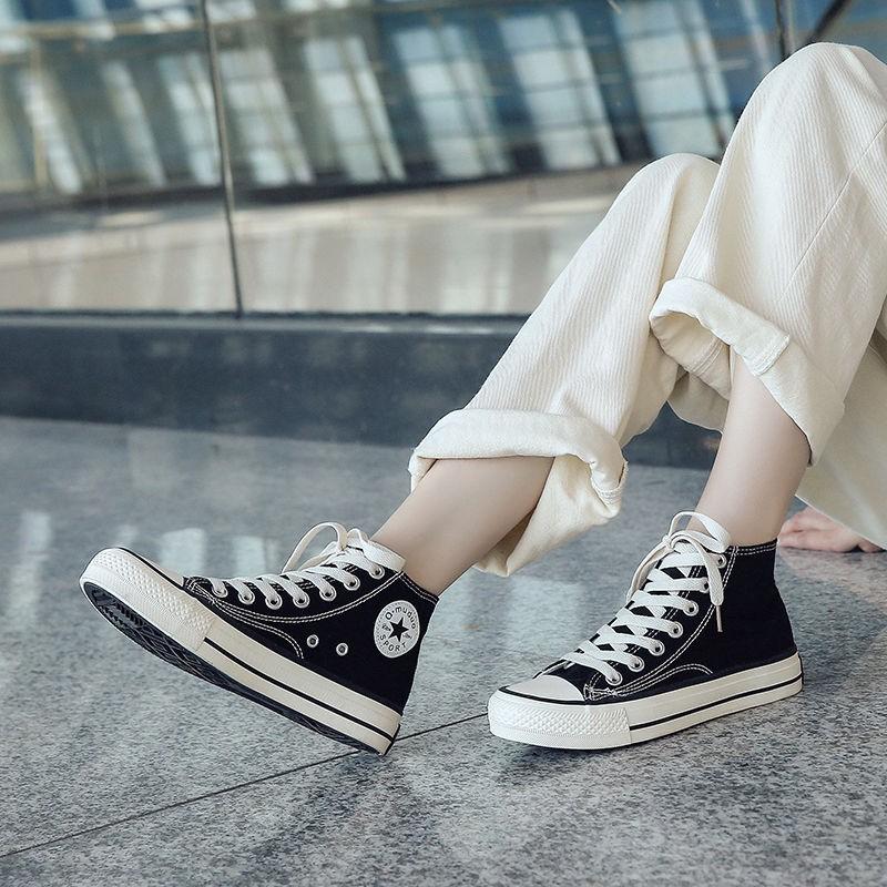 街拍ins情侶帆布鞋男高幫韓版學生潮鞋1970s百搭平底復古港風板鞋