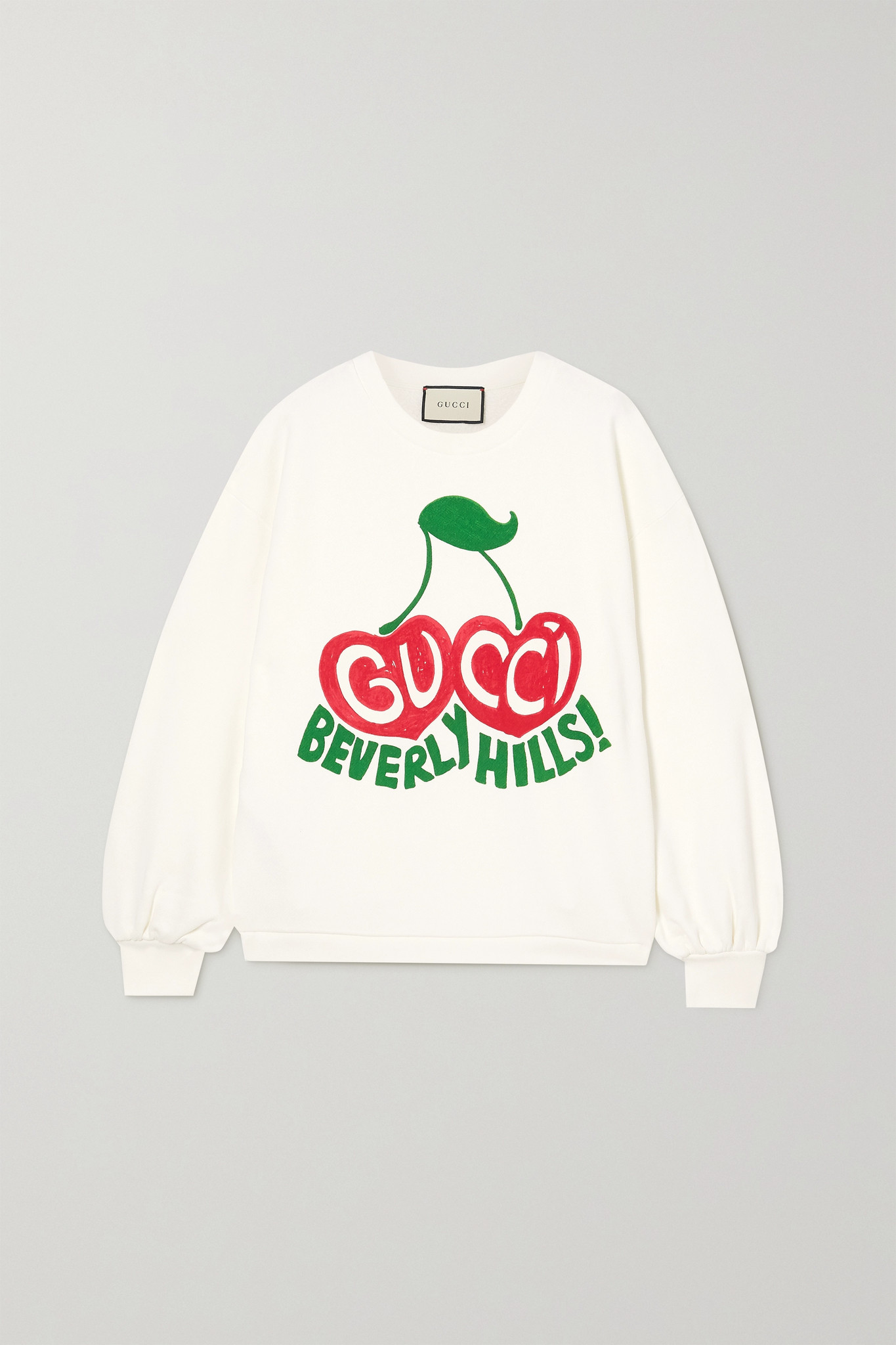 GUCCI - + Net Sustain Printed Organic Cotton-jersey Sweatshirt - White - x small