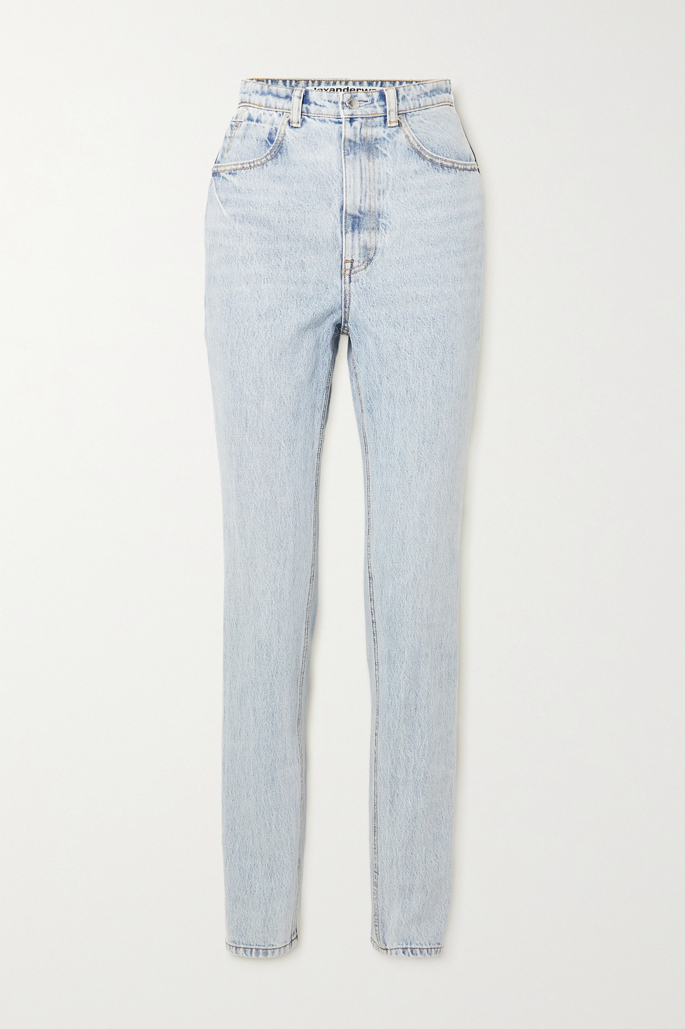 ALEXANDER WANG - Satin-trimmed High-rise Tapered Jeans - Blue - 27