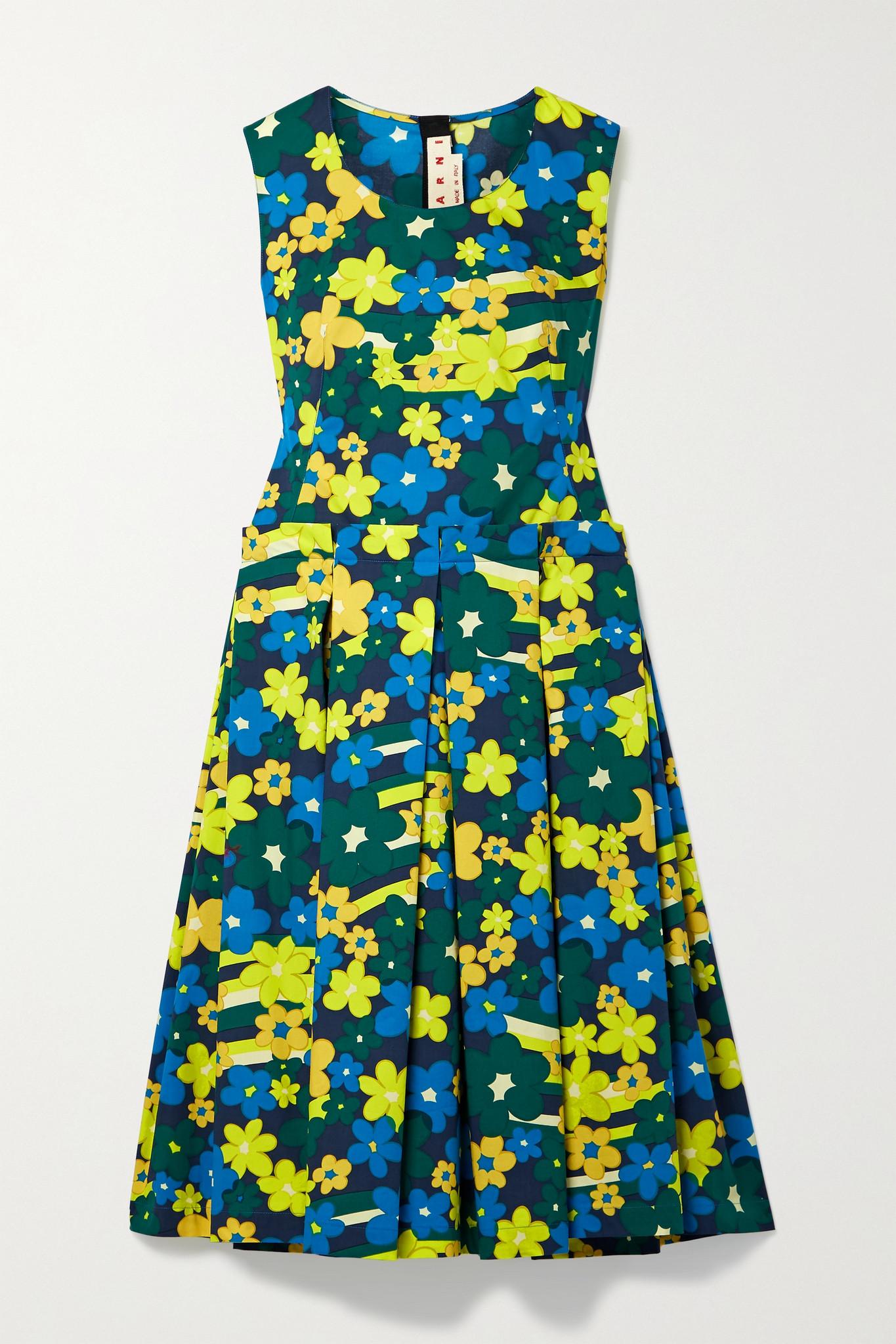MARNI - Pleated Floral-print Cotton-poplin Midi Dress - Green - IT40