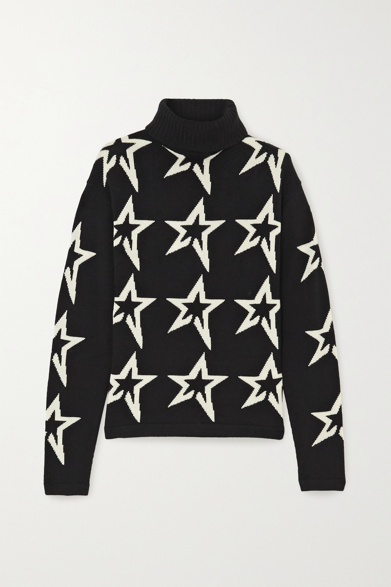 PERFECT MOMENT - Star Dust Intarsia Merino Wool Turtleneck Sweater - Black - x small
